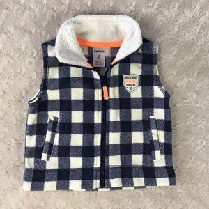 Carter's Fleece Vest 6M Blue White Plaid Check